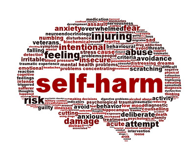 a paper on self injurious behaviors Self-harm behaviors such as cutting, burning, stabbing, etc biting or scratching the self at a continuous, low-grade level (eg, chewing on the hands) pica (eating non-food items, such as paper or tinfoil).
